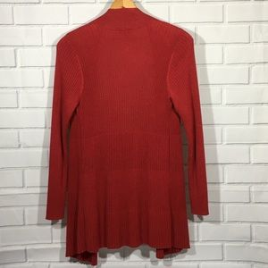 Chico's Sweaters - Rust Red Open Front Long Sleeve Cardigan Sweater